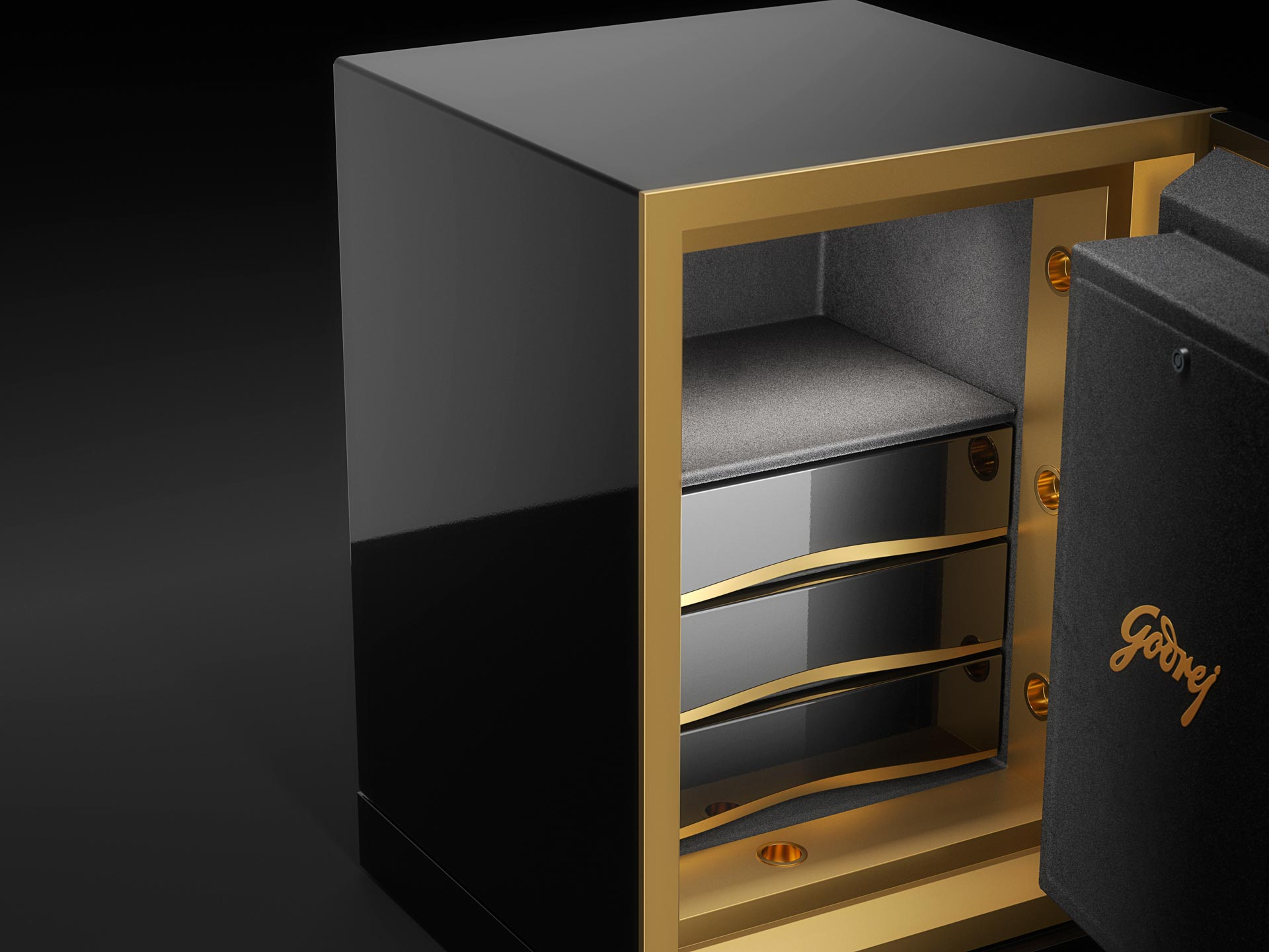 Picture of Nora safe with the door open to reveal the drawers inside